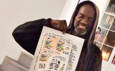 Dakloze dichter krijgt huis aangeboden met een cartoon